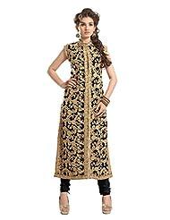 Trendz Apparels Black 60 Gm Georgette Straight Cut Salwar Suit - B011KP6OGM
