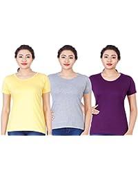 Fleximaa Women's Cotton Round Neck T-Shirt Plain (Pack Of 3) - Yellow, Purple & Grey Milange Colors.