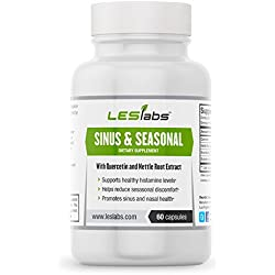 Sinus & Seasonal (60 Vegetarian Capsules) by LES Labs • Supports Sinus & Nasal Health and Helps Reduce Seasonal Discomfort • With Quercetin, Nettle Root & Butterbur