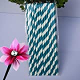 Sellify Navy Blue : 25Pcs Paper Straws For Birthday Wedding Decoration Party Straws Supply Creative Paper Drinking...