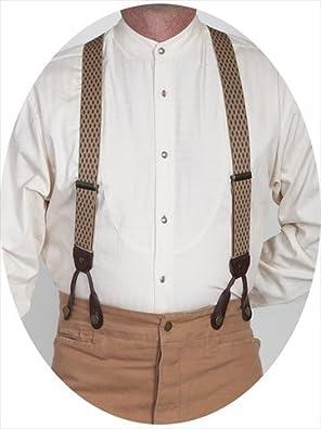 Men's Vintage Style Suspenders Mens Diamond Print Suspender - Beige One Size $33.93 AT vintagedancer.com