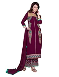 Lookslady Embroidered Violet Pure Georgette Stone & Zari Work Semi Stitched Salwar Suit