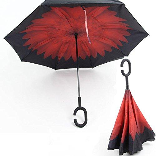 RAIN QUEEN Parapluie Canne Ouverture Inversé Double Toile Imprimé +C Poignée Grand Taille Dimension 110cm pour 2 personnes (Rouge Marguerite)