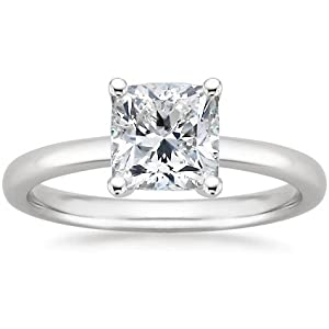 14K White Gold Solitaire Diamond Engagement Ring Cushion Cut ( J Color VS2 Clarity 4.01 ctw) - Size 4