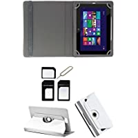 "Hello Zone Exclusive 360° Rotating 7"" Inch Flip Case Cover Book Cover For Asus Padfone Mini PF400CG Tablet -White..."