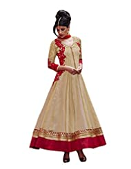 Vimlon Women's Readymade Indian Ethnic Red And Beige Anarkali Dress