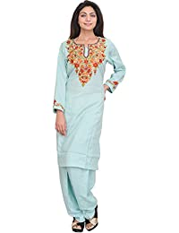 Exotic India Opal-Blue Two-Piece Kashmiri Salwar Kameez With Floral Ari E - Blue