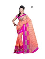 Daily Wear Pink Striped Georgette Saree