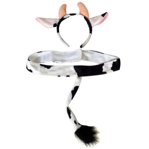 Plush Cow Headband Ears and Tail