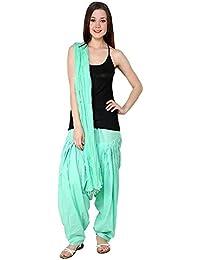 Fashion Store Women Minty Green Cotton Patiala Salwar Bottom And Dupatta Set