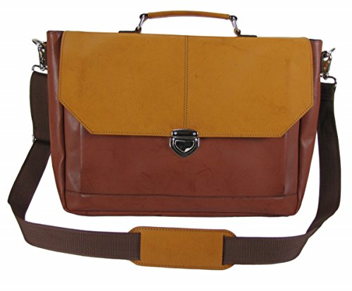 The House Of Tara Synthetic Leather Laptop And Office Bag (Tan And Light Tan)