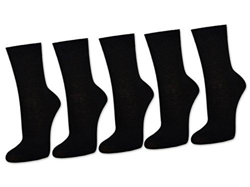 10 Paar Damensocken Baumwolle ohne Naht Business Damen Socken Schwarz Weiß Beige Braun - Sockenkauf24 (39-42, Schwarz)