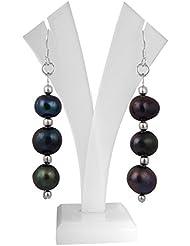 Pearlz Ocean Pearl Dangle & Drop Earings For Women ( Black )