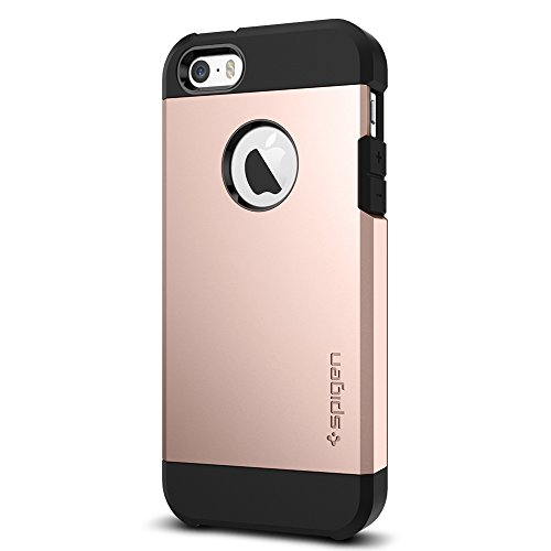 Coque iPhone SE, Spigen Coque iPhone 5S / 5 [Tough Armor] Protezione US Military Grade [Rose Gold] Air Cushion Tecnologia di Assorbimento, Coque Apple...