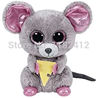 48494c6800e New Ty Beanie Boos Stuffed Animal Squeaker Mouse With Cheese 15cm 6 Cute  Big Eyes