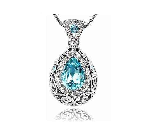 KATGI Fashion Austrian Crystal Angel Teardrop Pendant Necklace
