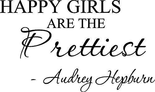 Picniva Happy Girls are The Prettiest. Audrey Hepburn. Vinyl Wall Art Inspirational Quotes and Saying Home Decor Decal Sticker