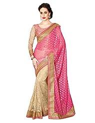 Inddus Exclusive Women Pink & Gold Colored Half & Half Bridal Sari