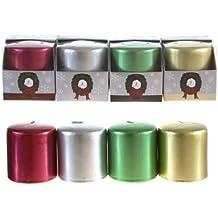 Mega Candles - Unscented 2.5 X 3 Metallic Pillar Candle, Set Of 4 By Mega Candles