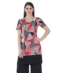 Fashion205 Black And Red Printed Crepe Short Kurti - B00X3HLGFK