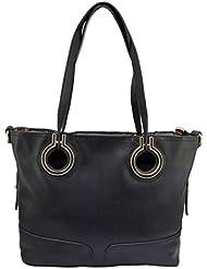 Omkar Shopy New Fashion Women's Ladies PU Hand Bag / Shoulder Bag(Black) OS125003418