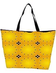 Snoogg Abstract Black Yellow Pattern Designer Waterproof Bag Made Of High Strength Nylon