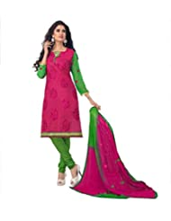 Limemode Women's Cotton Unstitched Dress Material (WASS000203_ Pink _Free Size)