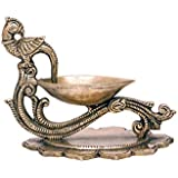 Swethamber Arts Brass Peacock Diya::Brass And Bronze Handicrafts ; Antique Finish ; 400gms ; 4inches Height