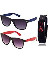 BLUE WAYFARER SUNGLASSES AND BLACK RED WAYFARER SUNGLASSES WITH TPU BAND RED LED DIGITAL BLACK DIAL UNISEX WATCH