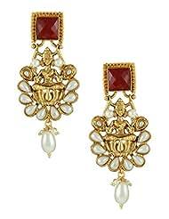 The Art Jewellery Square Ruby Stone & Pearl Drops,Temple Dangle&Drop Earrings For Women
