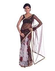 D-opus Women's Net Saree (Abs-034, White & Red)