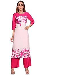 Rama Casual Pink Color Floral Print Long Kurti & Plazzo Set