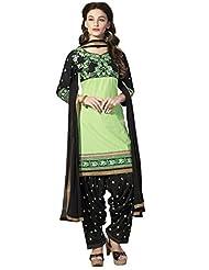 Kvsfab Light Green & Black Pure Cotton Unstitched Patiala Salwar Suit
