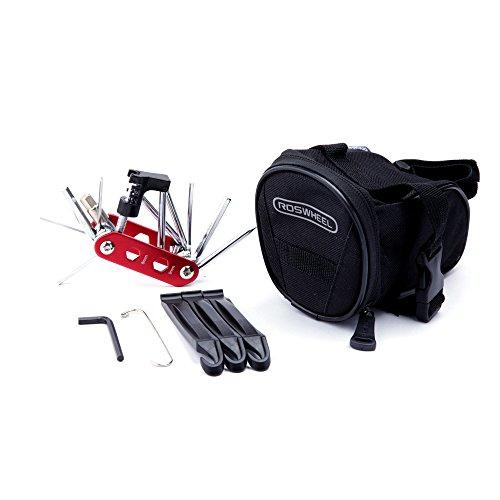 WOTOW Bicycle Repair Set Bike Outdoor Seat Saddle Bag 14 in 1 Multi Function Tool Kit Chain Splitterr (Red)
