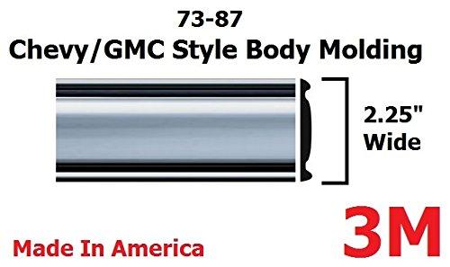 1973-1987 Chevy GMC Chrome Side Body Trim Molding Full Size Pickup Truck – 2.25″ Wide – C10, C20, C30, K10, K20, K30, V10, Suburban, Custom Deluxe, Silverado, Pickup Trucks