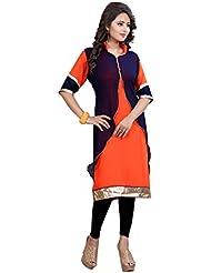 Lakshminarayan Creatin's Womens Plain 60 Gm Georgette Black And Orange Kurti Without Leggings
