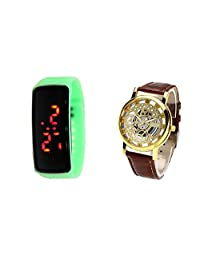COSMIC BROWN BELT SKELETON WATCH WITH FREE UNISEX LED BAND(GREEN) - B01CNYRB4S