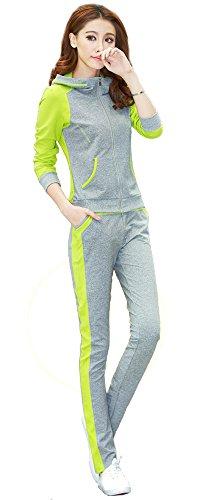 ジャージ トレーナー パーカー スェット スポーツウェア ジョギング ランニング スポーティ 部屋着 マラソン ルームウェア レディース 秋物 冬物 可愛いスカーフ付き R387 (2XL, ライム)