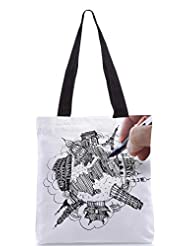 Snoogg Hand Drawing The Dream Travel Around The World Designer Poly Canvas Tote Bag