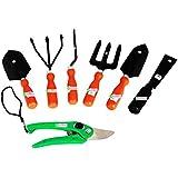 Easy Gardening - Garden Tools Kit (7Tools) Weeder,Trowel Big,Trowel Small,Cultivator,Fork, Pruner, Khurpi