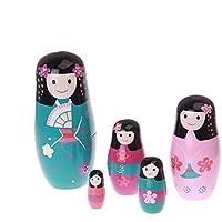 Zuiniubi 5pcs Japanese Girls Russian Nesting Dolls Beautiful Classic Style Glaze Dolls Home Decoration Handmade...