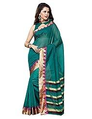 AASRI Women Festival Wear Cotton Blend Printed Zari Border Multicolour Saree - B00O8XWQZM