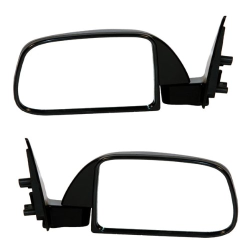 1989-1995 Toyota Pickup Truck Manual Smooth Black (Without Vent Window Type) Folding Rear View Mirror Pair Set: Left Driver AND Right Passenger Side (1989 89 1990 90 1991 91 1992 92 1993 93 1994 94 1995 95)