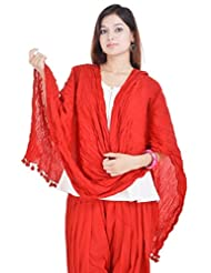 Kalrav Solid Red Cotton Dupatta