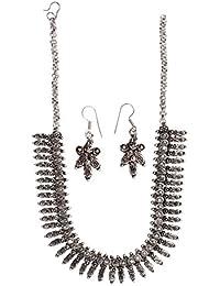 BALLERINA'S Antique Oxidized Jewelry Necklace Earing Set (BsAOJNES005IN)