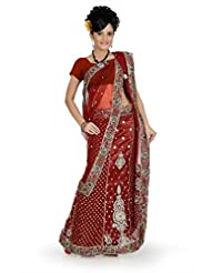 Designersareez Women Net Embroidered Maroon Saree With Unstitched Blouse(688)