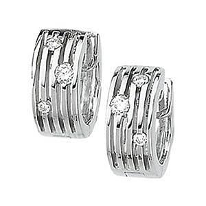IceCarats Designer Jewelry 14K White Gold Multi-Row Hinged Diamond Earring. 1/5 Ct Tw Pair