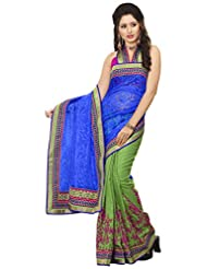 Alethia Blue & Green Manipuri Silk & Pure Net Traditional Wear Embroidered Sarees With Unstitched Blouse