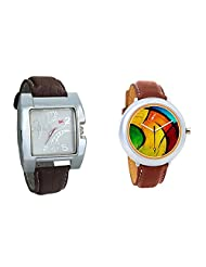 Gledati Men's White Dial & Foster's Women's Multicolour Dial Analog Watch Combo_ADCOMB0002283