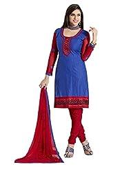 Inddus Women Blue & Red Cotton Unstitched Dress Material